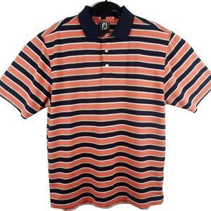 FootJoy Orange Blue Athletic Fit Polo Size L